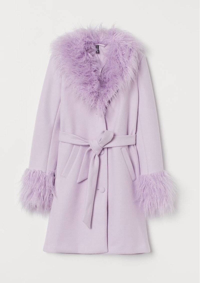 H & M - Faux Fur-trimmed Coat - Purple