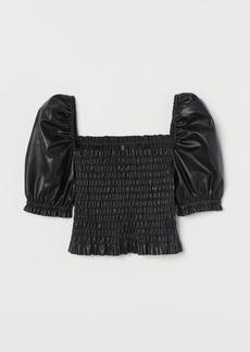 H&M H & M - Faux Leather Blouse - Black