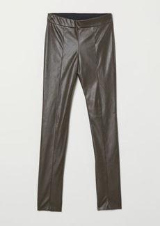 H&M H & M - Faux Leather Leggings - Beige