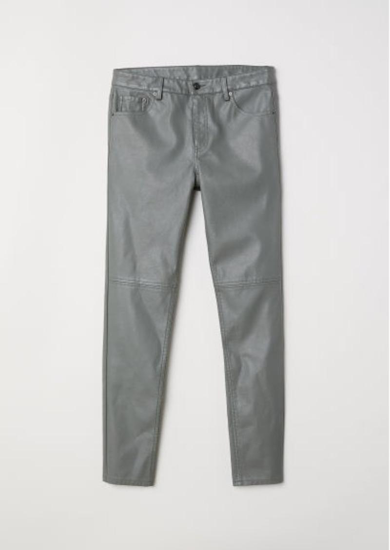 H&M H & M - Faux Leather Pants - Green