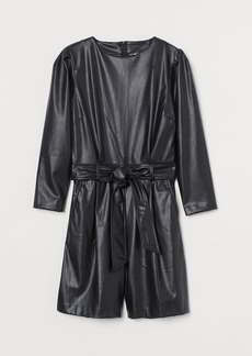 H&M H & M - Faux Leather Romper - Black