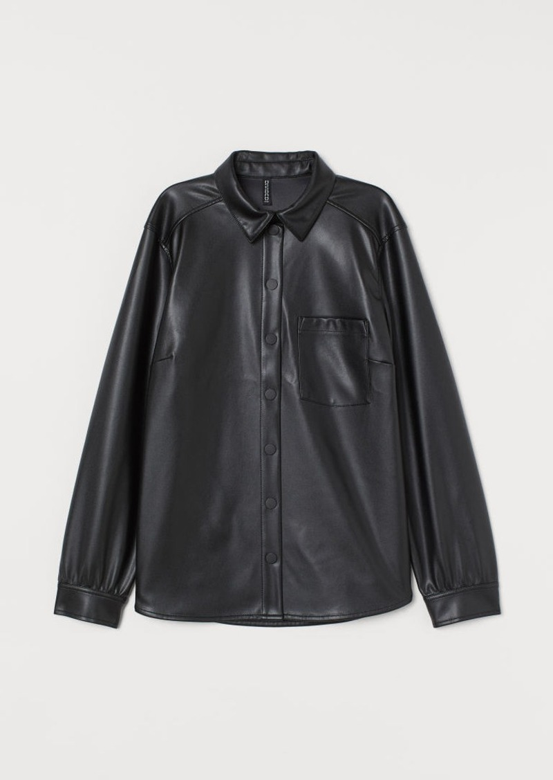 H&M H & M - Faux Leather Shirt - Black