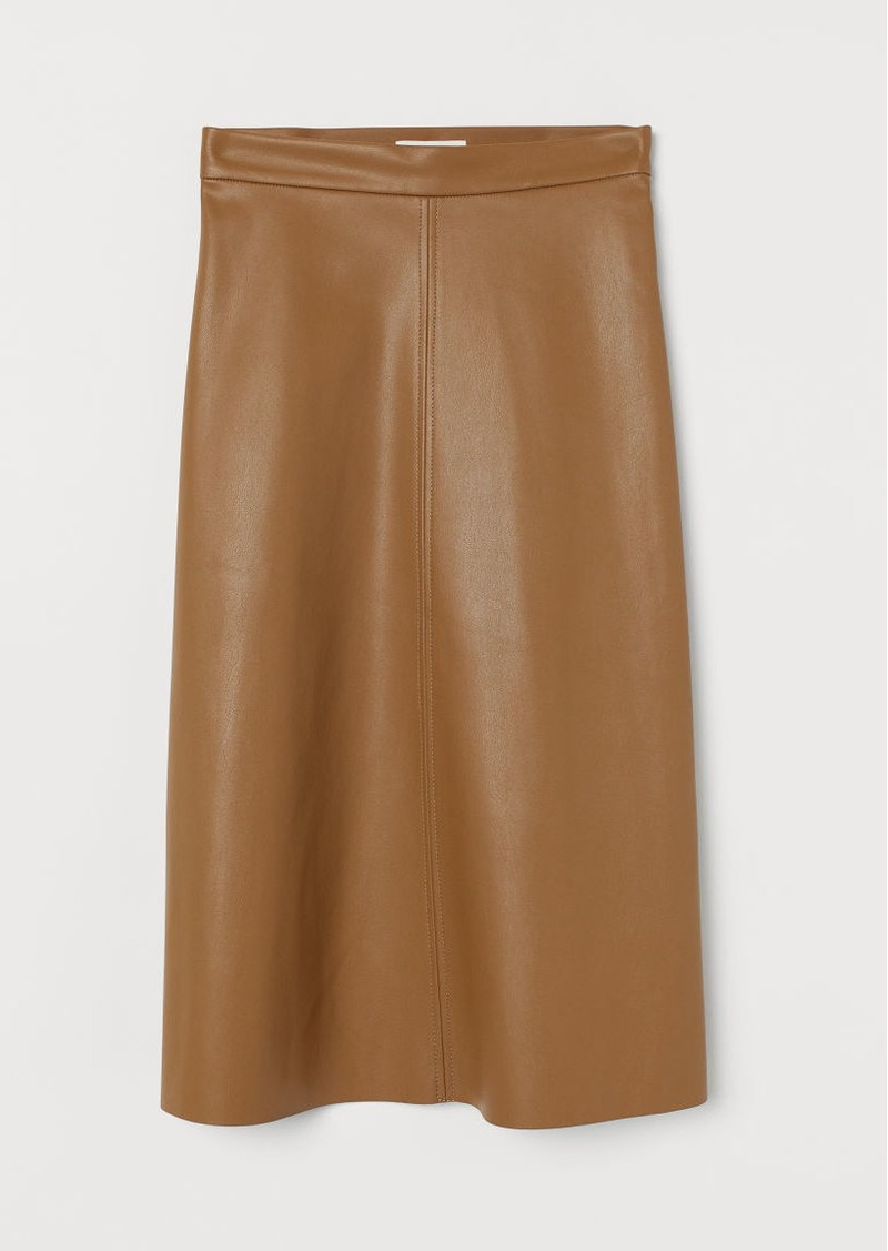 H&M H & M - Faux Leather Skirt - Beige