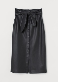 H&M H & M - Faux Leather Skirt - Black
