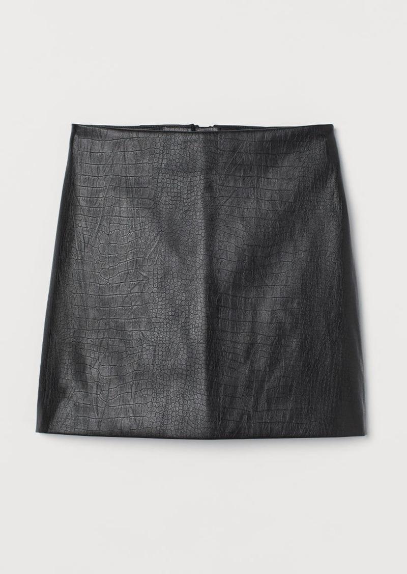 H&M H & M - Faux Leather Skirt - Black