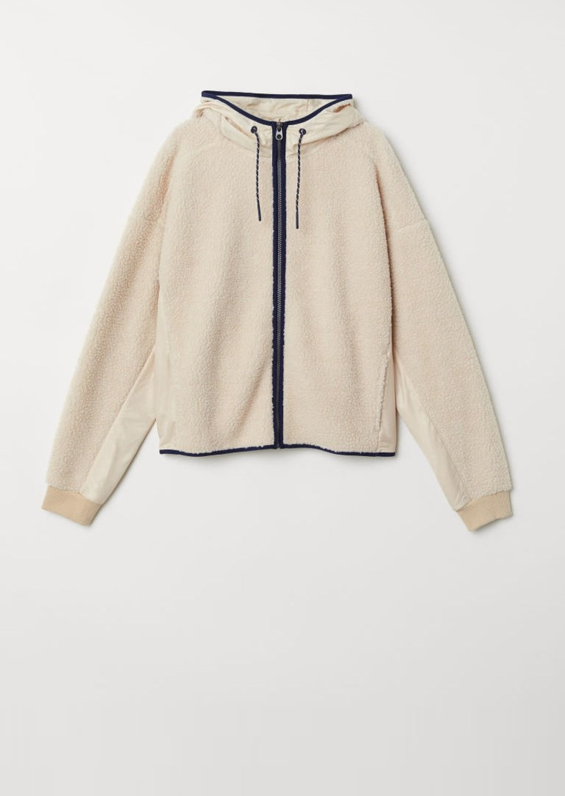 H&M H & M - Faux Shearling Hooded Jacket - Beige