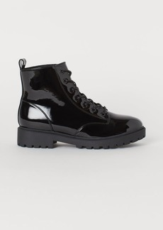 H&M H & M - Faux Shearling-lined Boots - Black