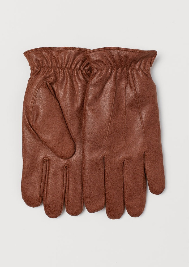 H&M H & M - Faux Shearling-lined Gloves - Beige