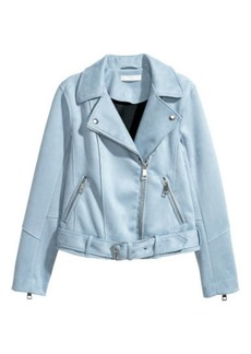 H&M H & M - Faux Suede Biker Jacket - Blue