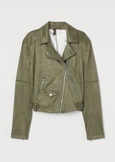H&M H & M - Faux Suede Biker Jacket - Green