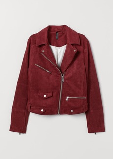 H&M H & M - Faux Suede Biker Jacket - Red