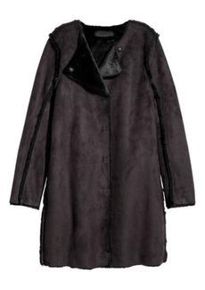 H&M H & M - Faux Suede Coat - Black