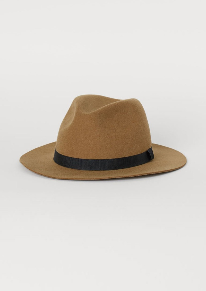 H&M H & M - Felted Wool Hat - Beige