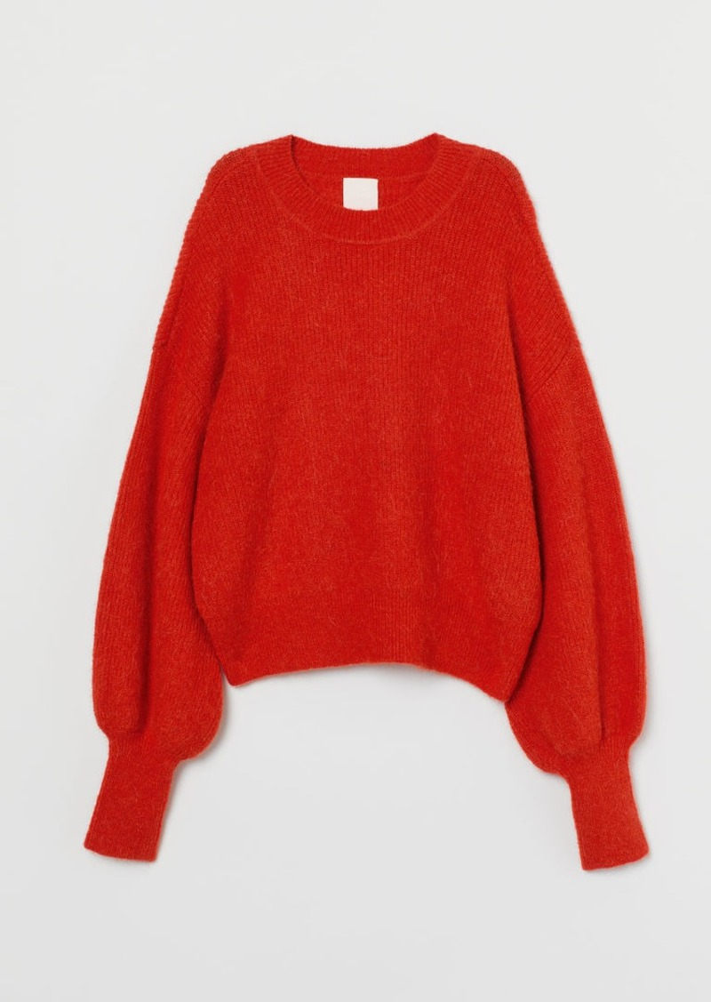 H&M H & M - Fine-knit Alpaca-blend Sweater - Orange