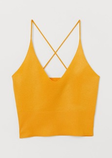 H&M H & M - Fine-knit Camisole Top - Yellow
