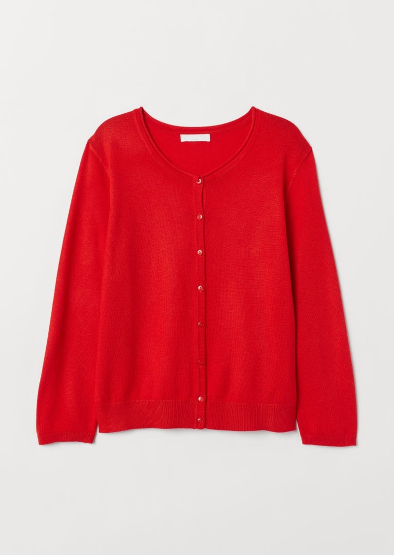 H&M H & M - Fine-knit Cardigan - Orange