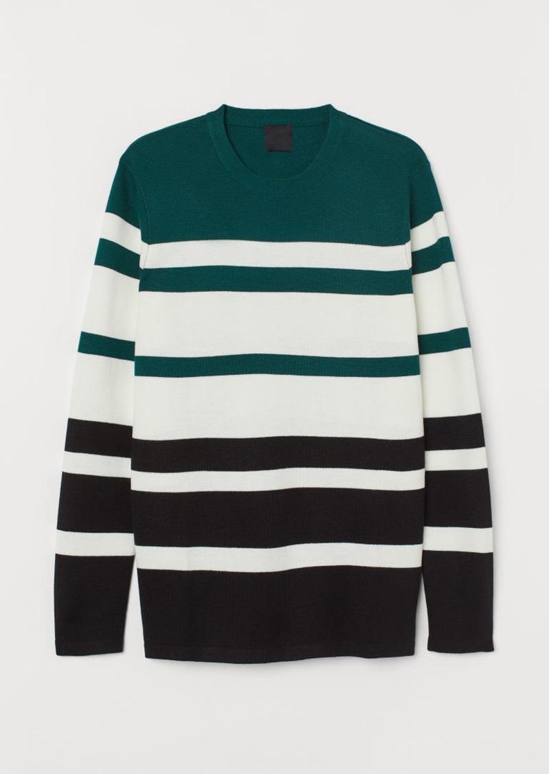 H&M H & M - Fine-knit Cotton-blend Sweater - Green