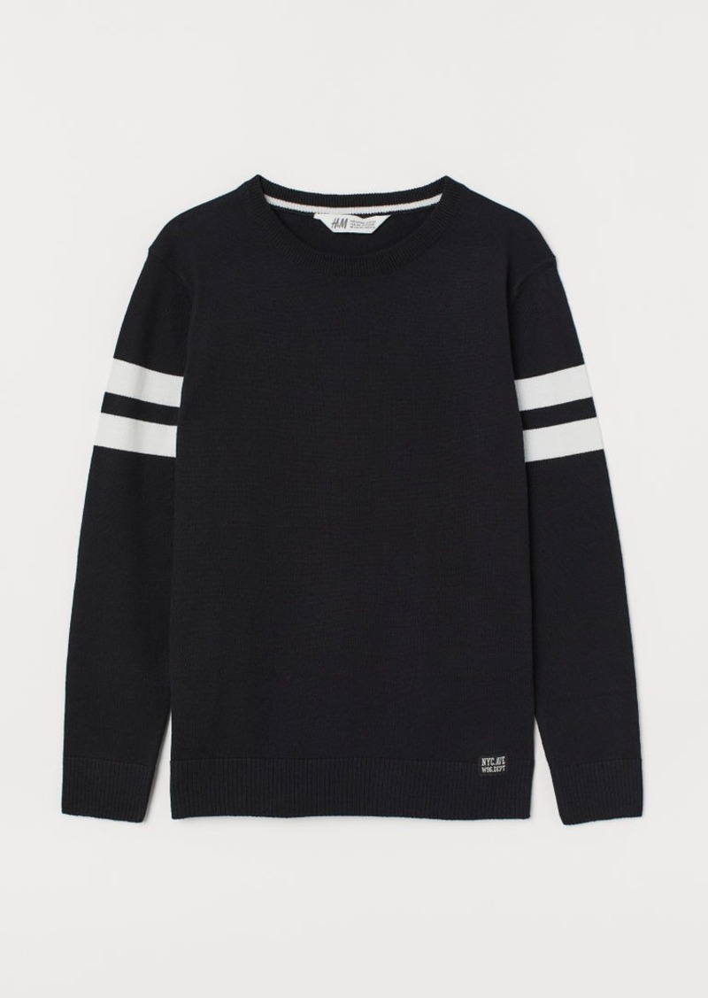 H&M H & M - Fine-knit Cotton Sweater - Black