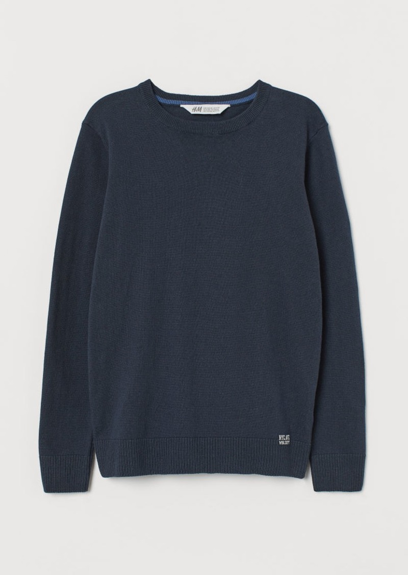 H&M H & M - Fine-knit Cotton Sweater - Blue