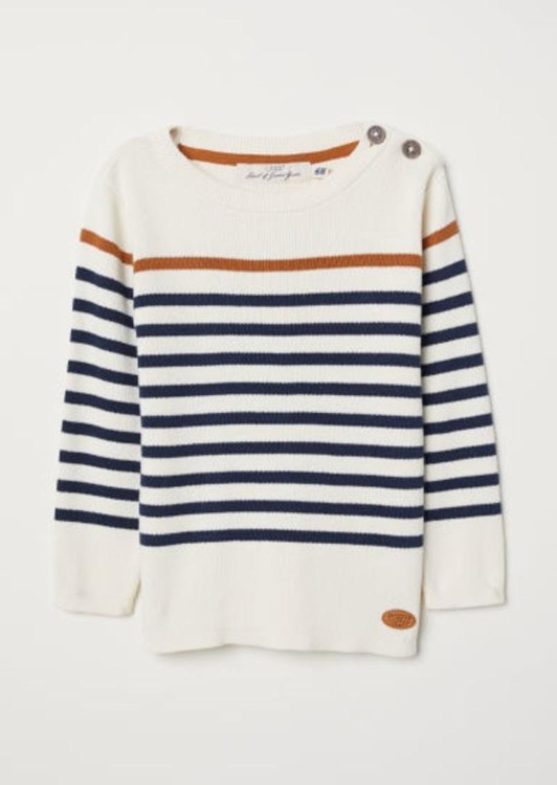 H&M H & M - Fine-knit Cotton Sweater - White