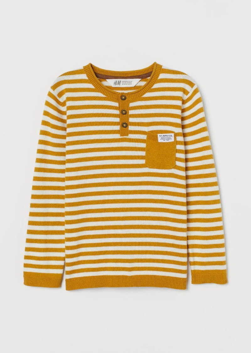 H&M H & M - Fine-knit Cotton Sweater - Yellow