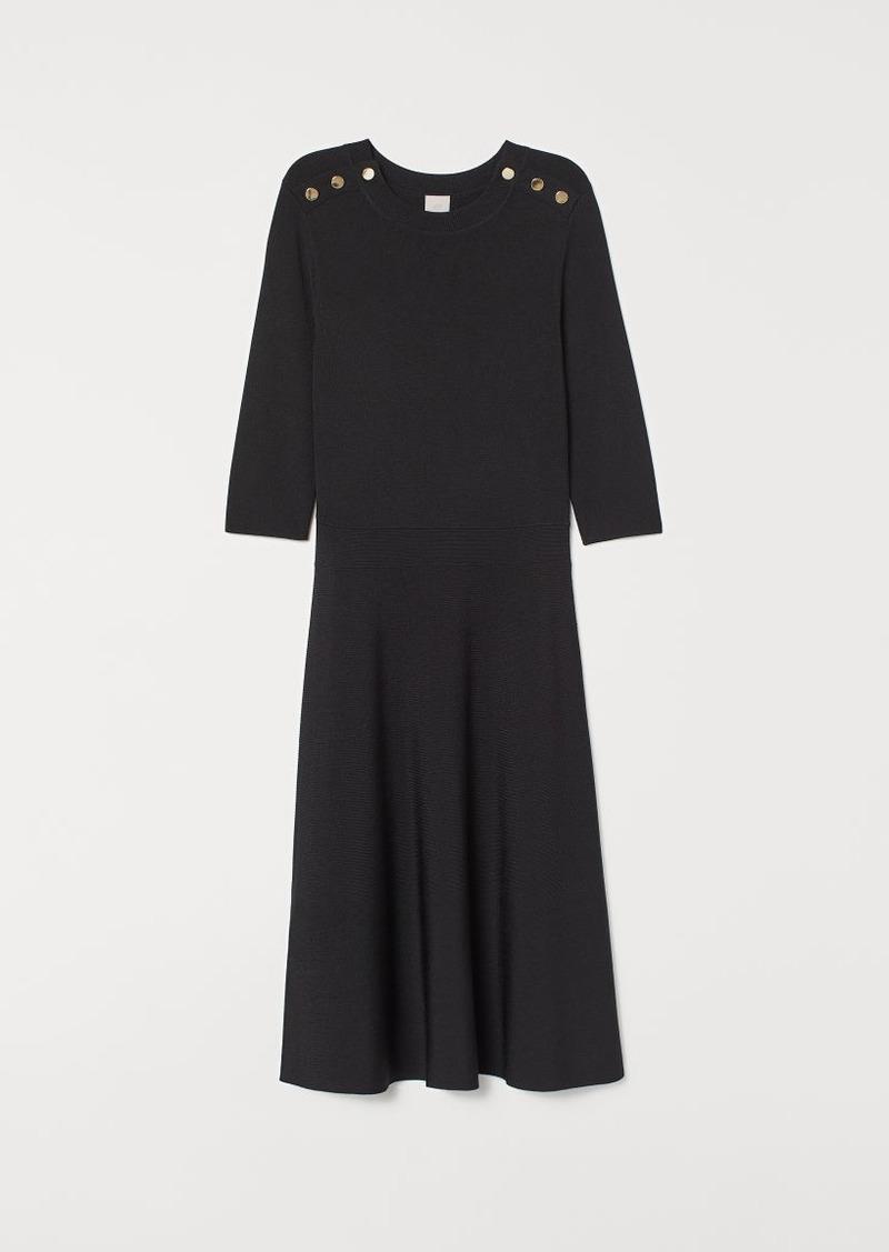 H&M H & M - Fine-knit Dress - Black