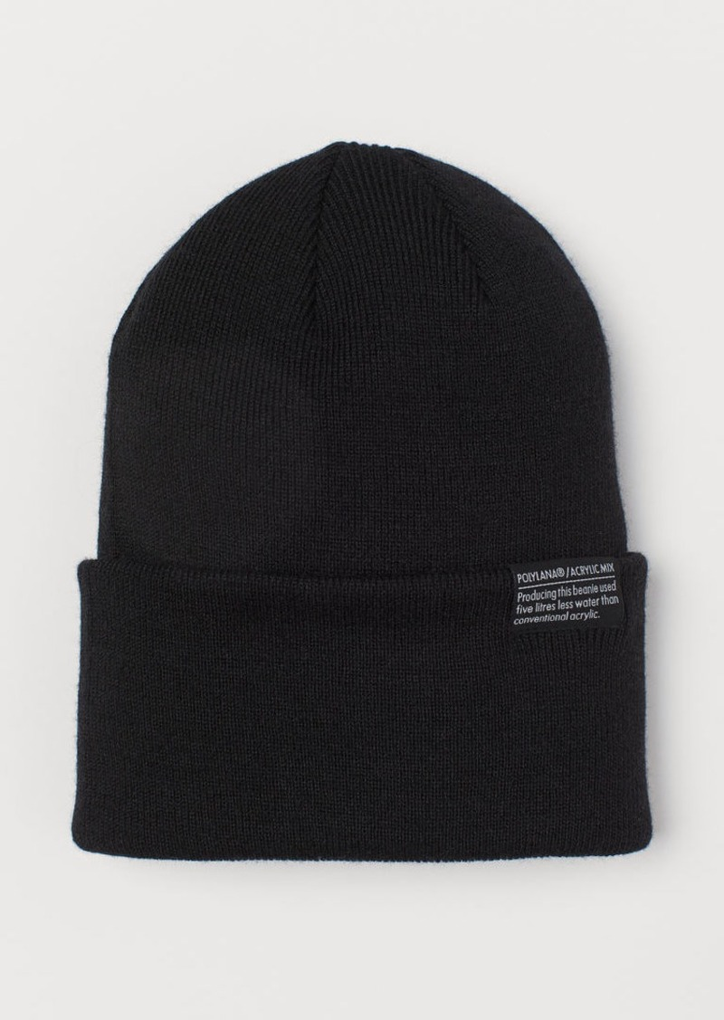 H&M H & M - Fine-knit Hat - Black
