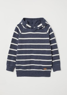 H&M H & M - Fine-knit Hooded Sweater - Blue