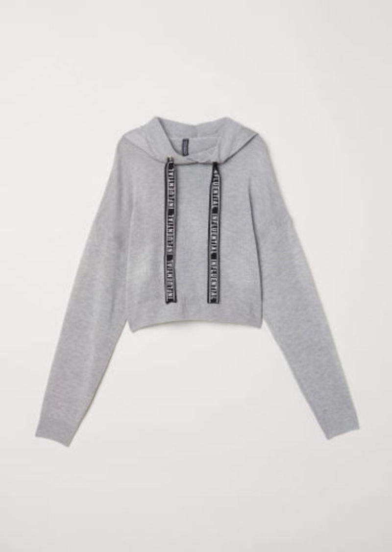 H&M H & M - Fine-knit Hooded Sweater - Gray