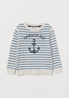 H&M H & M - Fine-knit Printed Sweater - White