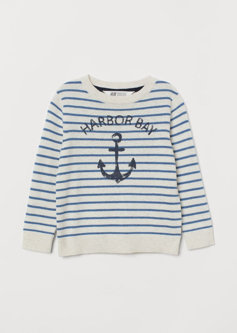 H&M H & M - Fine-knit Printed Sweater - White