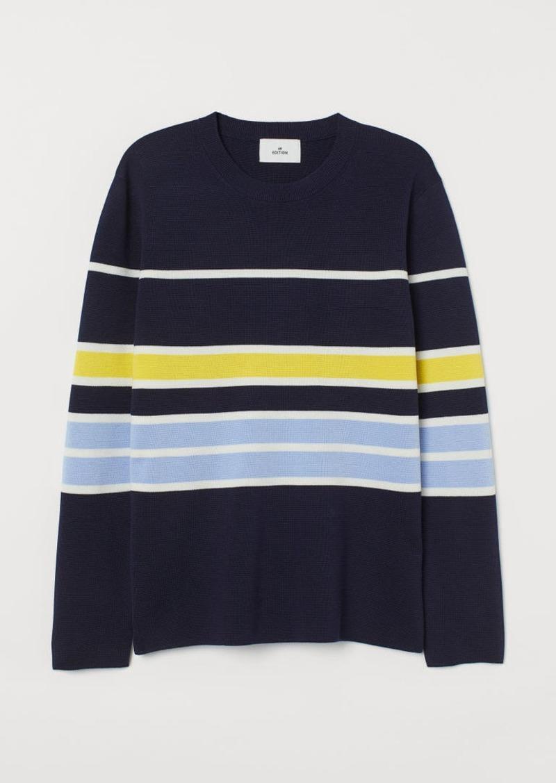 H&M H & M - Fine-knit Silk-blend Shirt - Blue