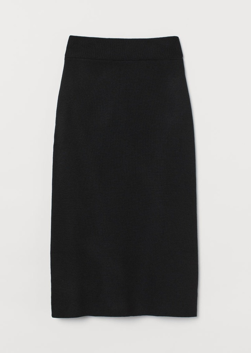 H&M H & M - Fine-knit Skirt - Black