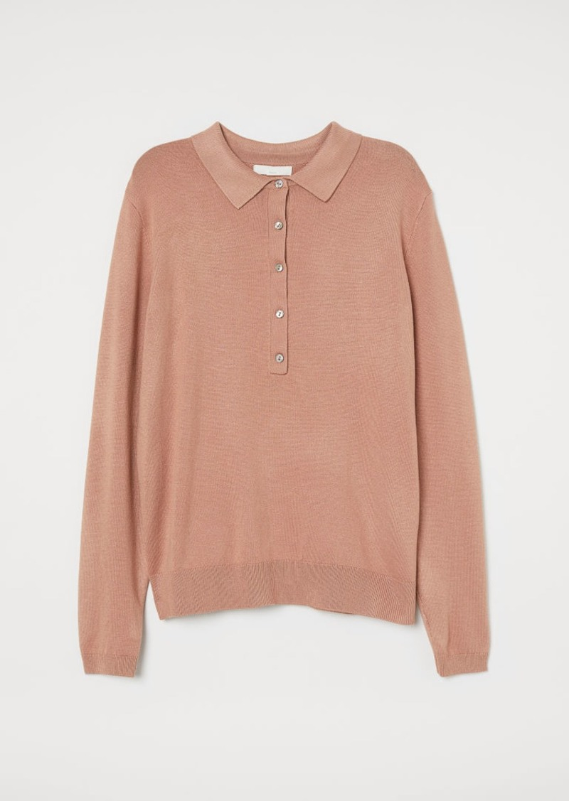 H&M H & M - Fine-knit Sweater with Collar - Orange