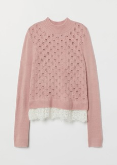 H&M H & M - Fine-knit Sweater with Lace - Pink