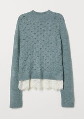 H&M H & M - Fine-knit Sweater with Lace - Turquoise