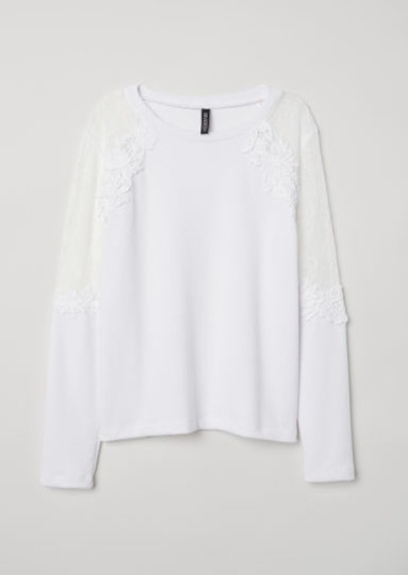 8ec355ab4793 H&M H & M - Fine-knit Sweater with Lace - White Now $10.99