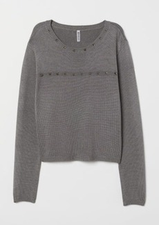 H&M H & M - Fine-knit Sweater with Studs - Gray