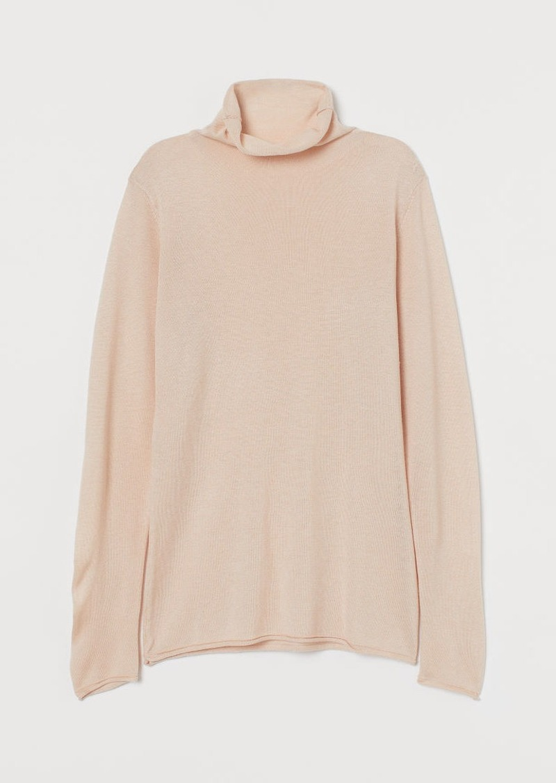 H&M H & M - Fine-knit Turtleneck Sweater - Beige