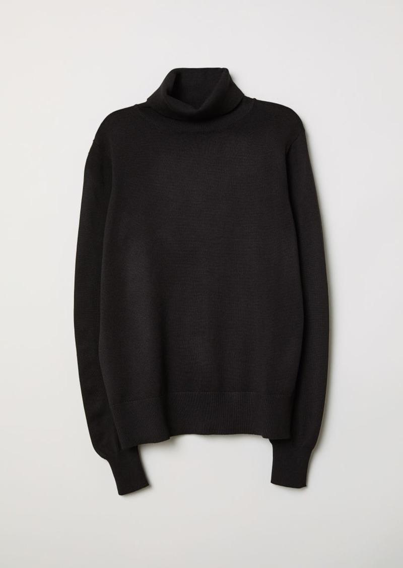 H & M - Fine-knit Turtleneck Sweater - Black