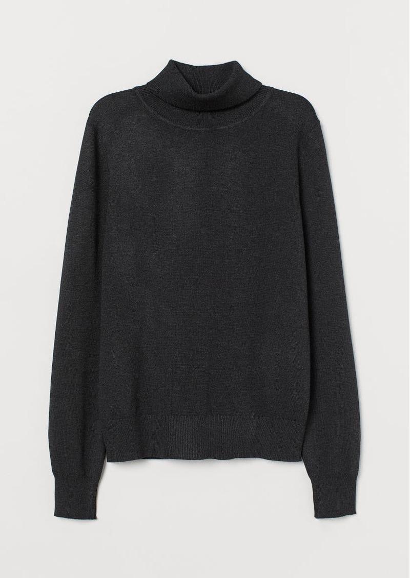 H&M H & M - Fine-knit Turtleneck Sweater - Gray