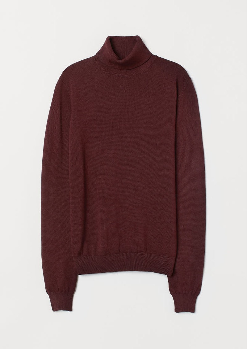 H&M H & M - Fine-knit Turtleneck Sweater - Red