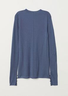 H&M H & M - Fine-knit Wool-blend Sweater - Blue