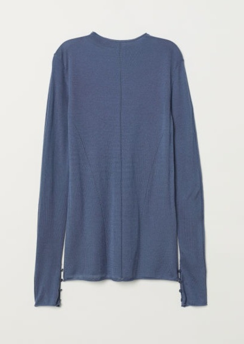 H&M H & M - Fine-knit Wool-blend Sweater - Blue