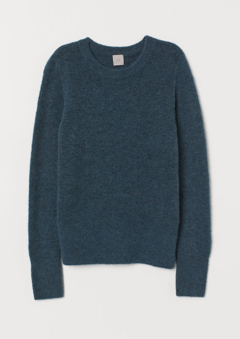 H&M H & M - Fine-knit Wool-blend Sweater - Turquoise