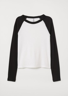 H&M H & M - Fitted Baseball Shirt - Black