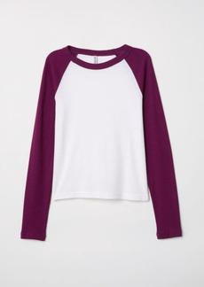 H&M H & M - Fitted Baseball Shirt - Purple