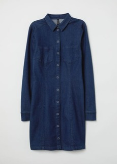 H&M H & M - Fitted Shirt Dress - Blue