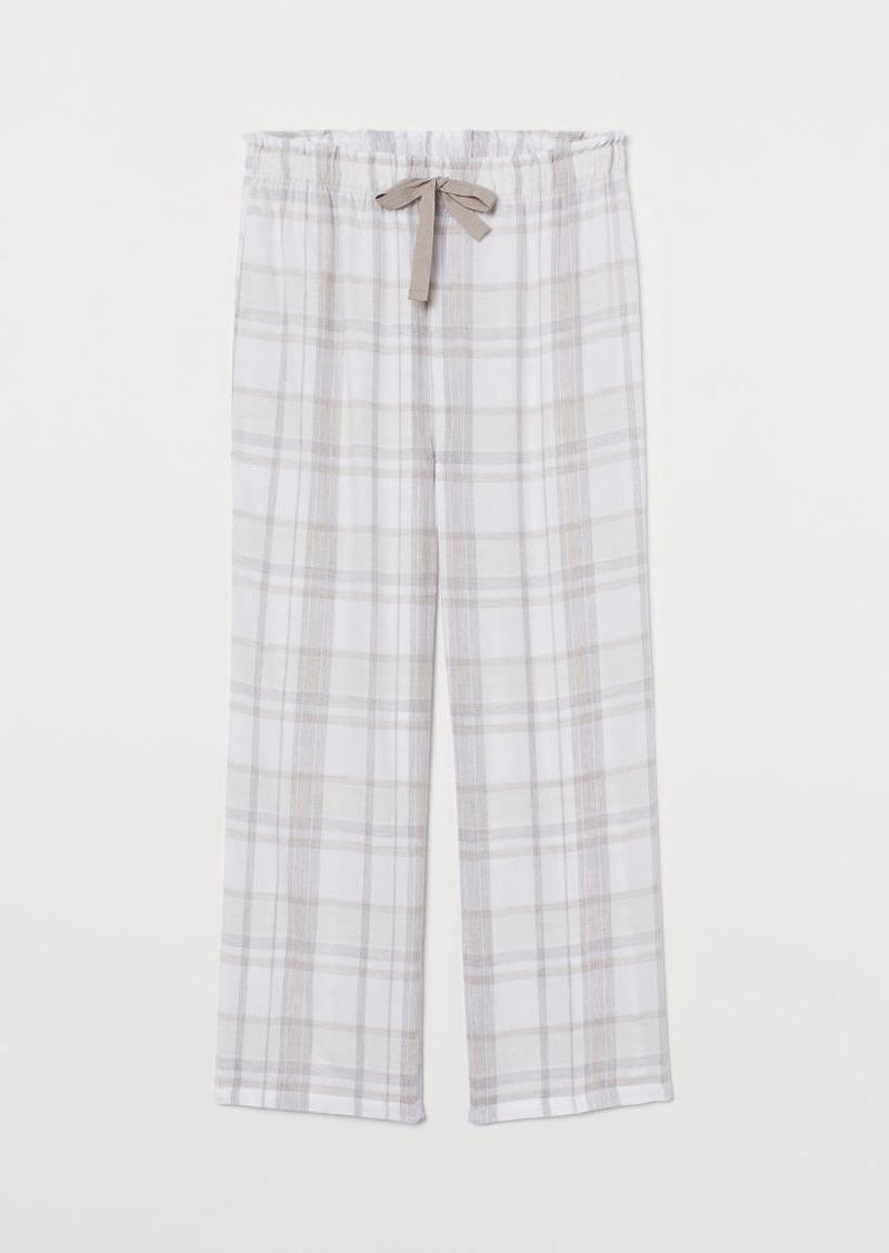 H&M H & M - Flannel Pajama Pants - White