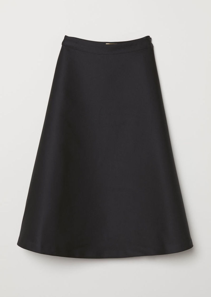 H&M H & M - Flared Satin Skirt - Black